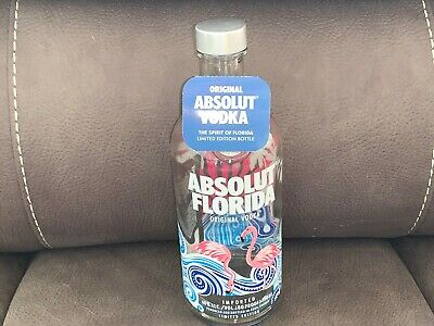 ✅  Absolut Limited FLORIDA Edition Vodka bottle 750ML FLAMINGOS Sunshine State