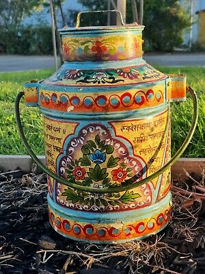 Antique Milk Can Colourful Handpainted