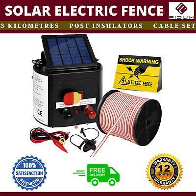 New 3km Solar Power Electric Fence Charger Kit Farm Fencing Tape Insulator Sign