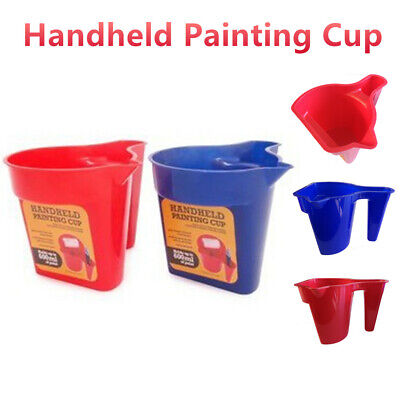 Handheld Painting Cup Paint Bucket Container Art Plastic Cleaning Brush Storage