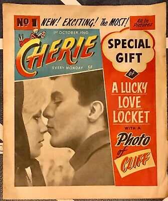V RARE! CHERIE #1 1st Oct 1960 Comic UK Weekly w/ Free Gift Cliff Richard Locket