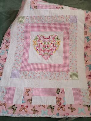 Handmade Baby Quilt for Pram, Crib or Moses Basket.  Pink Butterflies.