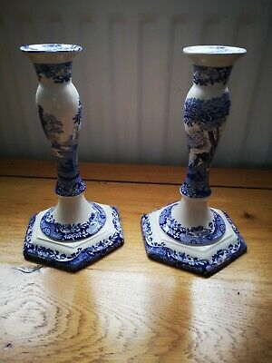 Pair Of SPODE ITALIAN TALL CANDLE STICKS  BLUE AND WHITE