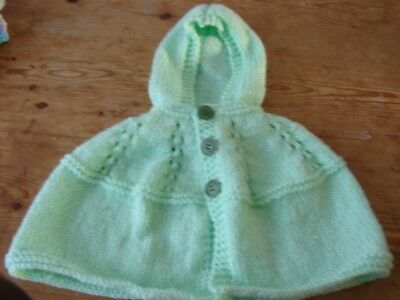 brand new hand knitted baby mint green  girls cape with hood NEWBORN
