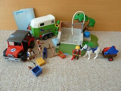 Playmobil 4189 Jeep and Horse Box Trailer and 4193 Horse Wash