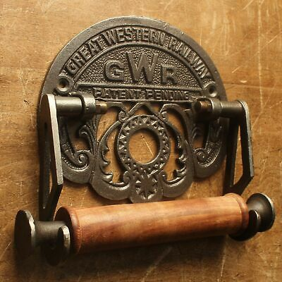 Cast Iron Vintage Antique Style Wall Mounted GWR Toilet Roll Holder - Railway
