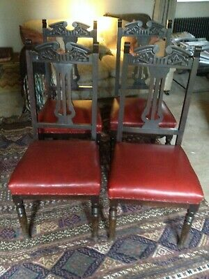 Set of 4 Carved Edwardian Dining Chairs