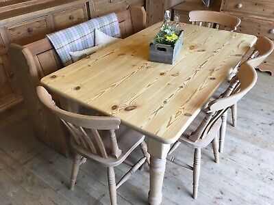 6 seater Farmhouse rustic solid waxed pine wood table and pew bench & chairs