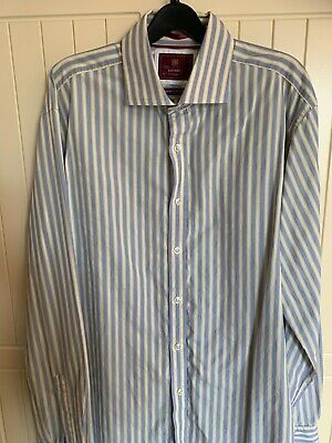"MARKS & SPENCER COLLECTION LUXURY SUPERIOR FINE COTTON SHIRT 16.5"" Blue & Gold"