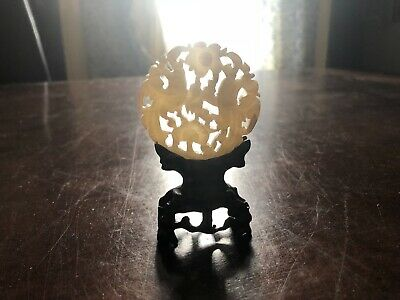 Chinese Jade Circular Disc Carved Medallion With Birds On Wooden Stand