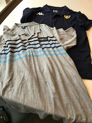 Men's Leeds United Official Polo Tops Xl Grey Stripe And Navy Blue Genuine