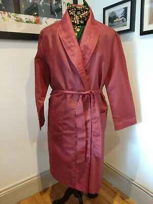 Vintage men's dressing gown smoking coat  red Paisley belt
