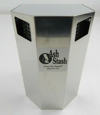 """Clean City Square Stainless Steel Wall Ash/Stash Cigarettereceptacle 9""""x 5 1/4"""""""