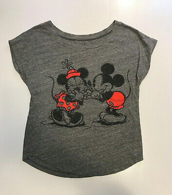 Disney Parks Womens Mickey Mouse Minnie Mouse Glitter Whispering T-Shirt Sm