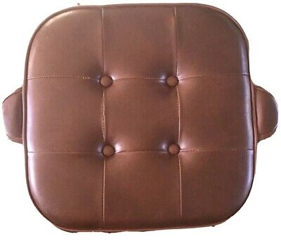 Vintage Mid Century Retro Brown Vinyl Pouffe Foot Stool 1970s Buttoned (TyreB)
