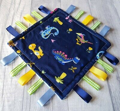 Taggy Blanket Sensory Toy Comforter Toy Dinosaurs Baby Lovey Blanket - Boys Gift