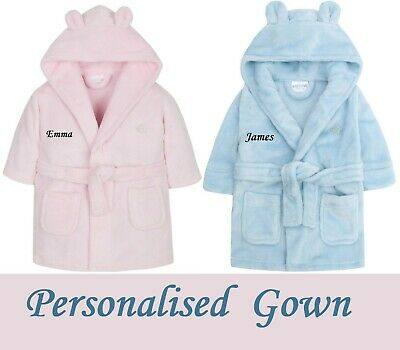 PERSONALISED Baby Boy Girl Toddler Hooded Soft Dressing Gown Robe Bathrobe GIFT