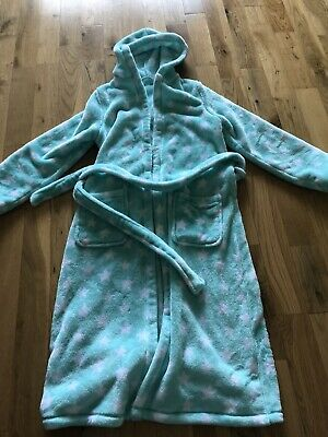 Mint Green And White Starry Hooded Dressing Gown, Age 11-12 Yrs From M&S