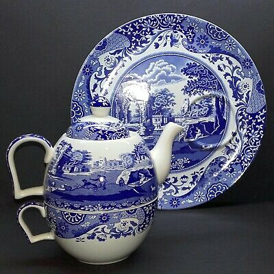 Spode Italian blue and white Tea for One Teapot, Breakfast Cup and Toast Tray