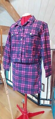 Topshop Pink And Blue Chequered Denim Jacket & Skirt Co-ord Set Size 14