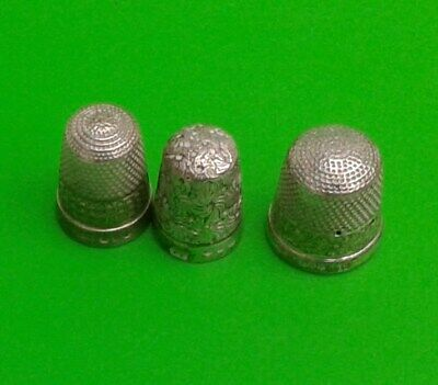 3 Vintage Silver Thimble - Hallmarked for Birmingham and dated 1888? , 1897,1916