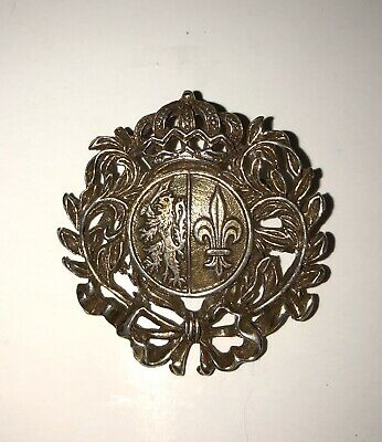 Vintage Brooch Pin Medieval Style Coat of Arms Crown Heraldry Bow Gold Tone