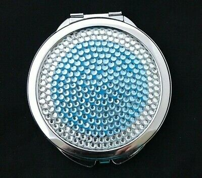 New Graham Webb Mirror Compact With Blue & Clear Rhinestone Design