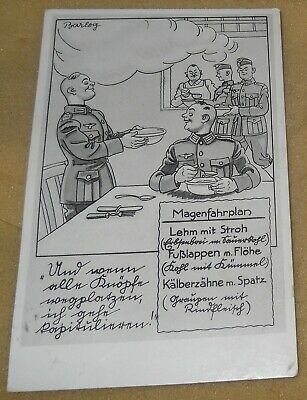 1940's Barlog World War II Germany Humor Postcard~Stomach Schedule