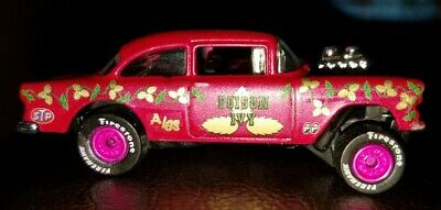 """Custom 1/64 Scale Hot Wheels 1955 Chevy Gasser """"Poison Ivy"""" Rubber Tires!"""