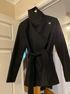Ladies Wool Black Funnel Neck Coat By Ted Baker Size 2