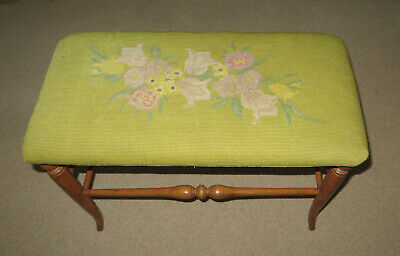 Vintage Wooden Stool for  Dressing Table  or  Piano  with Tapestry Top