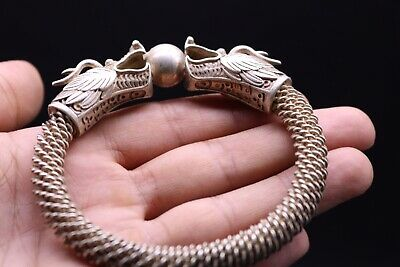 Beautiful Ancient Viking Silver Palleted   Bracelet With Dragon Heads