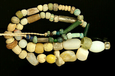 Ancient Egyptian 600 B.C Nile Mummy Faience Agatae Glass Beads Strand