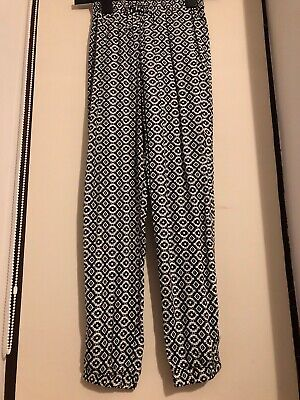 Primark- Girls Hareem Black Pants with white patterns - age 10-11 Years