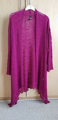 Ladies Womens Evans Size 22/24 Purple Ruffle Hem Long Sleeved Waterfall Cardigan
