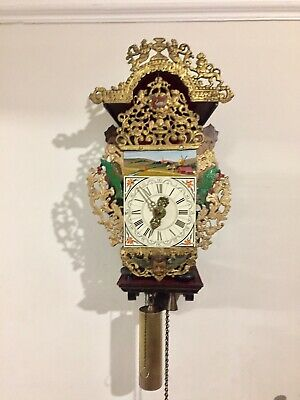 Antique Late 18th Century Dutch Wall Clock Stool Clock Verge Escapement C1790!