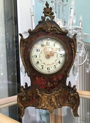 Antique Red Shell & Brass Inlaid French 8 Day Boulle Front Mantle Clock With Key