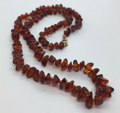 """Vintage Baltic Amber Necklace Knotted Strand 26"""""""