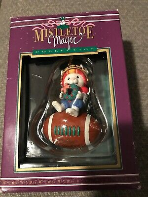 Mistletoe Magic/Not Enesco Christmas Ornament: Football Playing Mouse New