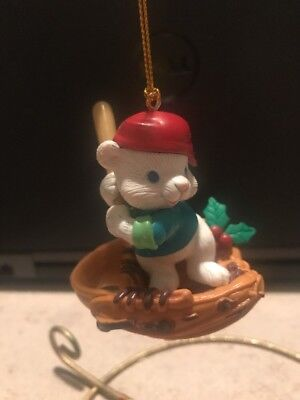 Mistletoe Magic/Not Enesco Christmas Ornament: Baseball Loving Bear New