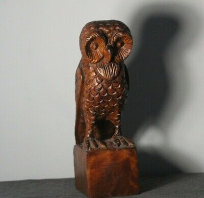 "Vintage Carved Folk Art Wood Owl on Block 11 1/2"" high"
