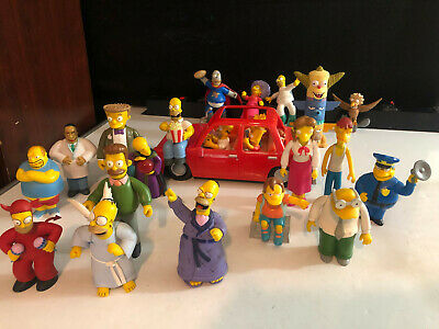 LOT of (20) Figures with Simpsons Car Angel Devil Homer Flanders Burns Smithers