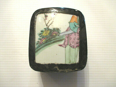 ANTIQUE ASIAN 1900'S Chinese Lacquer PAINTED  Porcelain Inlay BOX