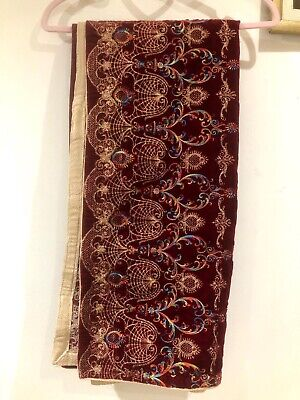 Red/maroon & Gold Velvet shawl Heavy Embroidered Asian Winter Pakistani