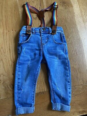 Baby Boys Skinny Jeans With Rainbow Braces 6-9 months