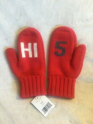 "NWT Draper James ""Hi Y'all Bye  Y/'all/"" Mittens Haute Red and Navy OS"