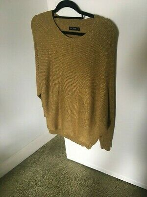 F&F Ladies Antique Bronze Round Neck Batwing Sleeves Glittery Long Top, UK 16