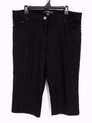 89th & Madison Crop Pants Size 18 Stretch Black Front Zip Pockets Textured New