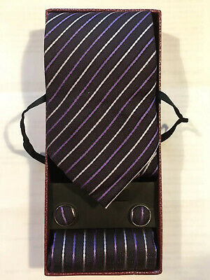 Pure  Vietnam Silk Tie Handkerchief Cufflinks Dark Purple White Stripe NEW Boxed