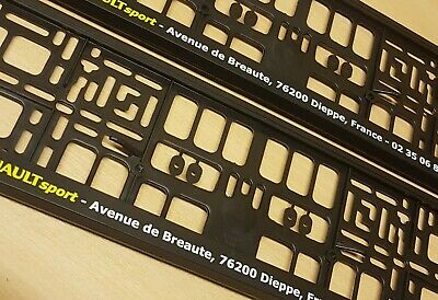2 x number plate surrounds / Holders / Frames - Fits Renault Sport